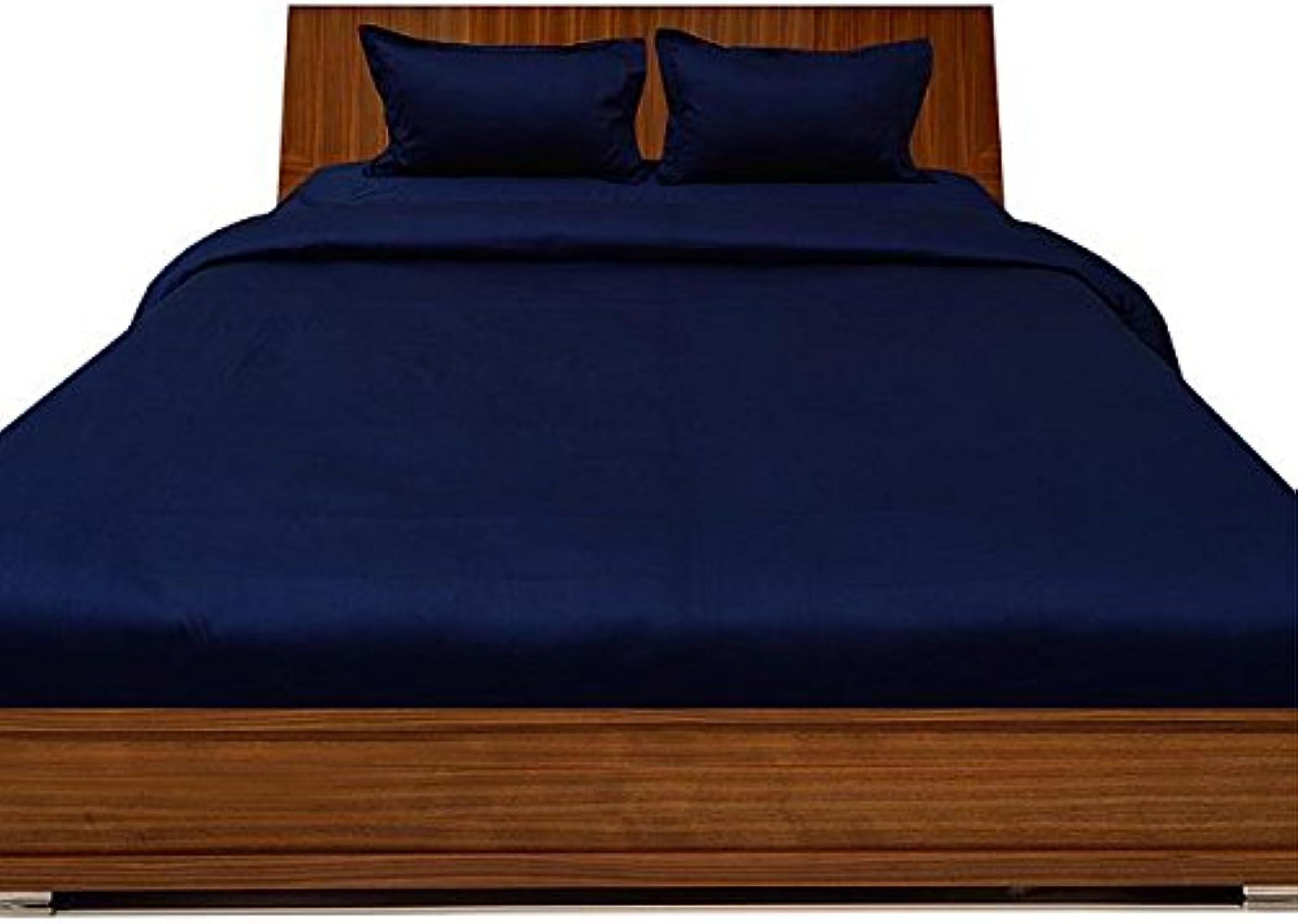 Parure de lit en Coton égypcravaten 650Fils 45,7cm Poche Profonde de Feuille avec Une extrême Taie d'oreiller UK Super King Nevy Solide 100% Coton Bleu 650tc