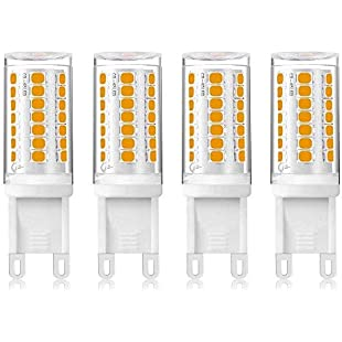 Customer reviews 4W LED G9 Capsule Dimmable Light Bulb Warm White 3000K, 360 Degrees, 28W 33W 40W Halogen Bulbs Replacement, No Strobe, Flicker Free (4-Pack, Dimmable):Hitspoker