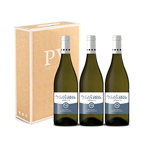 Vino Blanco Albariño Rias Baixas 100%. Albariño Gallego pack estuche 3 botellas VALDEULLA 75cl cosecha 2019.