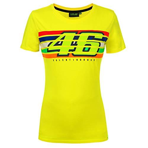 Valentino Rossi VR46 dames T-shirt Womens gele strepen Tee meisjes maten XS-XL