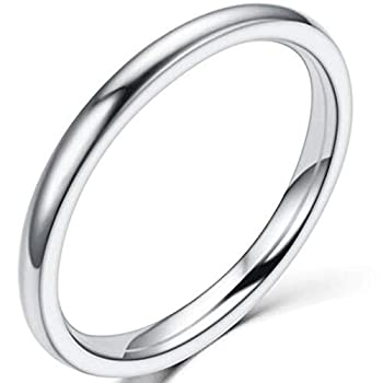 1.5mm Stainless Steel Classical Plain Stackable Wedding Band Ring  Silver 7