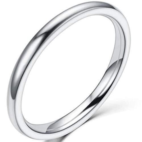 1.5mm Stainless Steel Classical Plain Stackable Wedding Band Ring (Silver, 7)