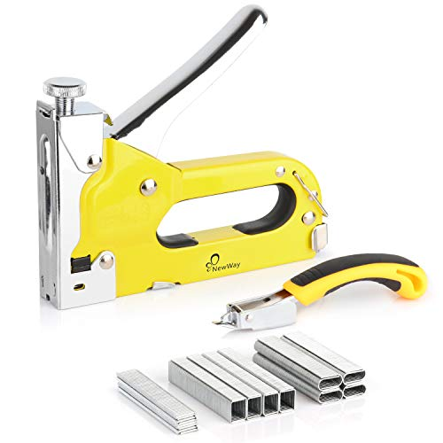 NewWay Manual 3 in 1 Heavy Duty Staple Gun with Remover and 1200 Staples, for Upholstery, Mounting, Decoration, DIY, Furniture, Board, Compatible with T50 (1/4, 3/8 and 5/16 in) JT21 Staples