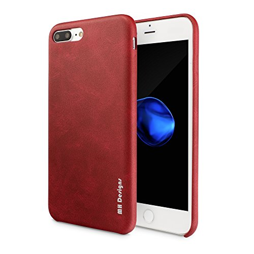 Cover iPhone 8, iPhone 7 Pelle Custodia, MH Designs Vintage Series Di Lusso Ultra Sottile Morbido Pu Pelle Custodia Case Cover Per Apple iPhone 7 / iPhone 8 4,7 Pollici - [Rosso]