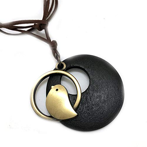 N-K PULABO Wooden Necklace Jewelry Statement Bead Bird Pendant Necklaces Velvet Long Chain Necklace Women Jewelry Brown Fine Craftsmanship Beautiful
