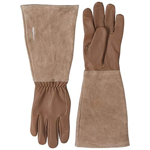 Amazon Basics - Guantes de jardinería, de piel, protege contra espinas, con protección de antebrazo, marrón, talla XL