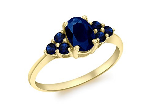 Carissima Gold 9ct Yellow Gold Sapphire Cluster Ring - Size P
