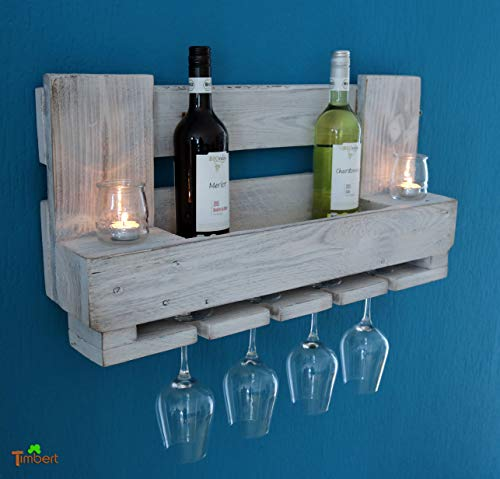 WEINREGAL aus EURO-PALETTEN in shabby chic weiß Wandregal Holz Palettenmöbel Rustikal Altholz Flaschenregal Industrial