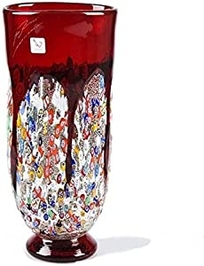 Jarrón decorativo de cristal de Murano, cristal rojo y murrino, jarrón alto, estilo clásico, jarrón italiano hecho a mano, diseño de florero, idea de regalo, 100% marca de origen garantizada, PIOVA