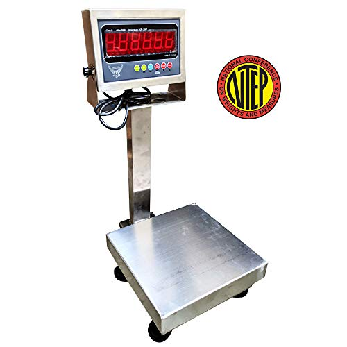 "PEC Scales Recycling 304 Stainless Steel Bench Scale/Shipping Scale, NTEP Legal for Trade (12"" x 12"")"