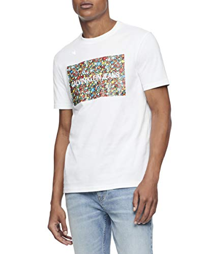 Calvin Klein Men's Short Sleeve Monogram Logo T Shirt, Brilliant White, X-Large