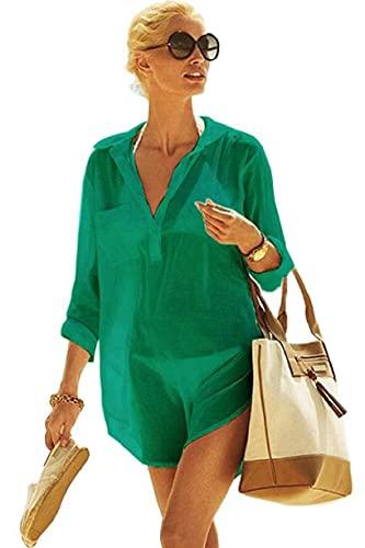 UMIPUBO Bikini Spiaggia Cover Up Donna,Copricostume Mare a V Tunica, Camicia Maniche Manica Lunga,Chiffon Dress a V Casual,Lungo Sarong Abito Estivo(GN,Taglia Unica)