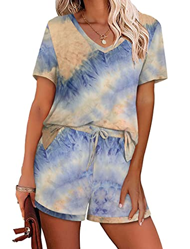 Tie Dye Two Piece Outfits for Women Leisure Lounge Sets Short Sleeve