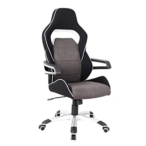 Techni Mobili Executive Ergonomic Upholstered Racing Style Home & Office Chair, Regular, Grey