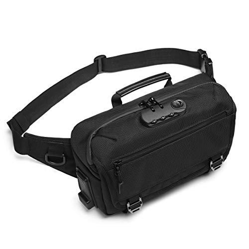 Gürteltasche Bauchtasche Hüfttasche Anti-Diebstahl Bauchtasche mit USB Ladeanschluss Herren für Camping Wandern Fitness Fahrrad Reisen Jagd Reise Wanderung(Leinwand Hüfttasche Schwarz)