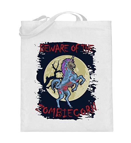 Generisch Bolsa de yute Zombiecorn Zombie Unicornio | Beware of the Zombiecorn Bolsa de algodn, color Blanco, talla 38cm-42cm