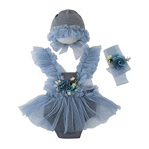 Newborn Photography Prop Outfits Girl Lace Rompers Set Baby Girl Photo Shoot Infant Princess Photos Costume (Grey)