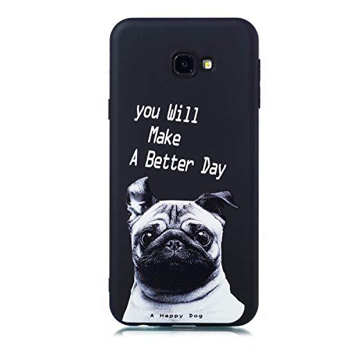 HongYong Carcasa para Samsung J415, color negro mate, carcasa suave de silicona TPU, Samsung Galaxy J4 Plus, diseño de carlino