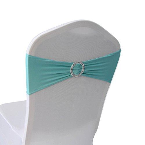 Spandex Stuhlbänder mit Schnalle – Hochzeit Bankett Party Event Dekoration Stuhl Schleifen Tiffany Blue