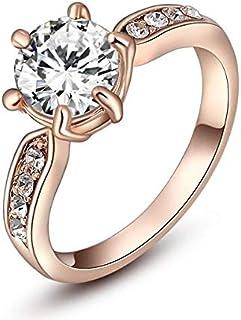 روز الذهب كريستال كلاسيك خاتم زفاف ستة مخالب