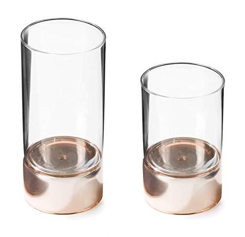 CREOFANT Glaszylinder 2-Tone · Windlicht · Teelichthalter · Vase · Kerzenhalter · 2er Set (H 20 cm und 15 cm, Durchmesser 9 cm) (Rosegold)