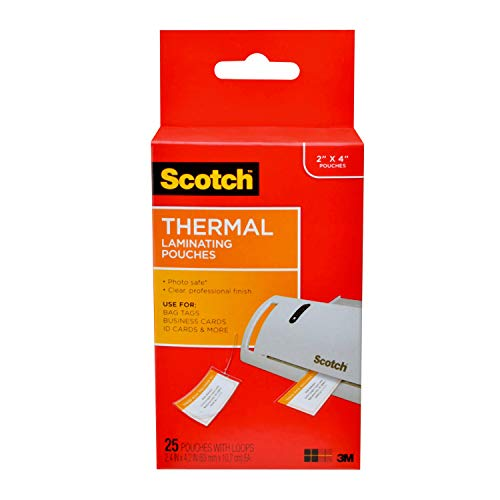 Scotch Thermal Laminating Pouches, 5 Mil Thick for Extra Protection, 2.48 in x 4.21 in, Luggage Tag Size with Loop, 25 Pouches (TP5853-25)