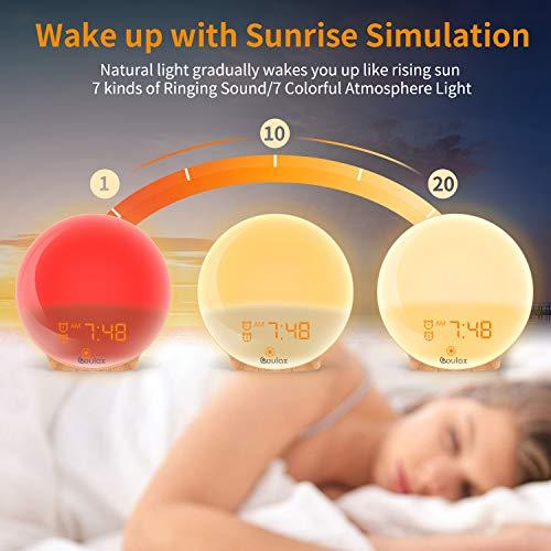 COULAX Lichtwecker Wake up Licht Holzmaserung Sonnenaufgang Sonnenuntergang Simulation Wecker mit 7 Natürlichen Sounds 7 Farbige 20 Helligkeit und UKW-Radio für Erwachsene und Kinder