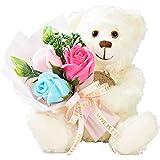 テディベア くま ぬいぐるみ シャボンフラワー ソープフラワー 薔薇 枯れない 花 ブーケ 花束 溢れる お花 クリスマス プレゼント 母の日 出産祝い 結婚祝い お見舞い 誕生日 ギフト お祝い ラッピング 包装 (テディベアホワイト)