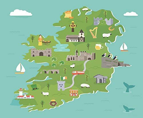 Mesllings Canvas Print Wall Art Painting Irish Map Symbols Ireland Destinations Dublin Celtic Shamrock Flag 12' X 16' for Home Decoration
