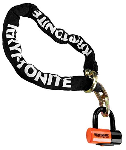 Kryptonite New York Cinch Ring Security Chain (12mm x 130cm) withEVS4 Disc 14mm Shackle