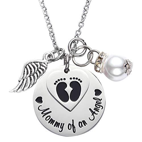 """Halskette mit Anhänger-Inschrift """"Mommy of an Angel"""", zum Andenken bei Verlust eines Kindes, Fehlgeburt, Totgeburt"""