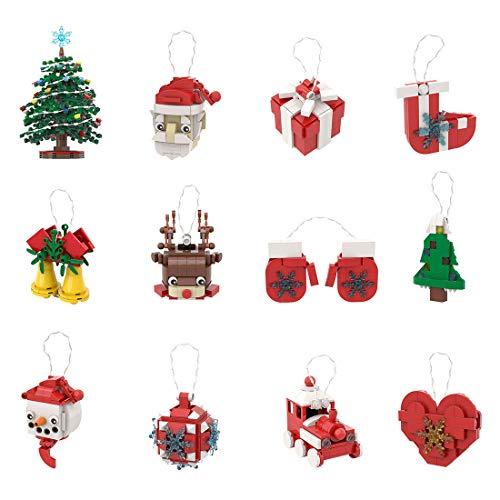 OATop Weihnachten 2020 Bausteine mit Licht, 12Pcs Technik Weihnachten Modell mit Weihnachten Baum, Weihnachtszug und Weihnachtsmann Kompatibel mit Lego