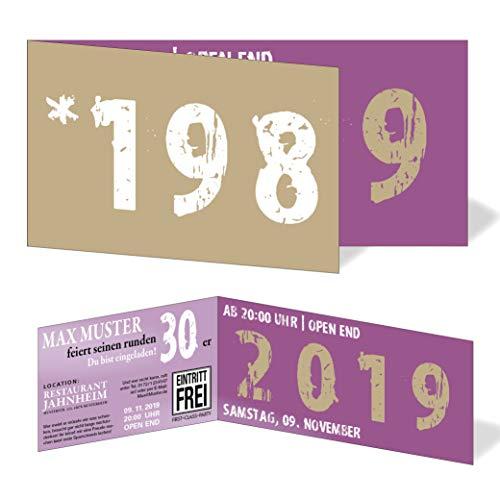 Runder Geburtstag Einladungskarten 30 Jahre Geburtstagseinladungen - Zeitsprung Einladung für runden Geburtstag 30er Feier Lila - Beige (10)