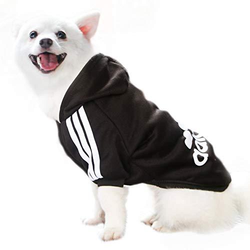 Eastlion Adidog Hund Pullover Welpen-T-Shirt Warm Pullover Mantel Pet Kleidung Bekleidung, Schwarz, Gr. XS