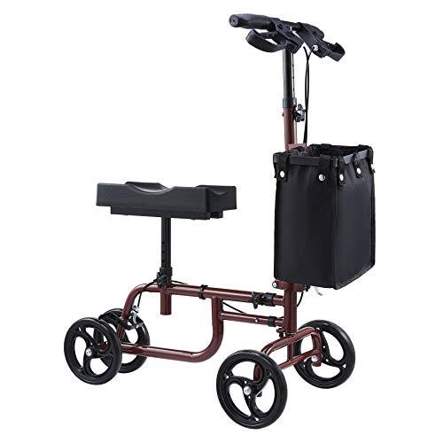VONOYA Klapprad Kniescooter Knee Walker mit verstellbarem Lenker und Korb Knie-Walker-Roller Knie-Roller bis 158 kg (Rot)