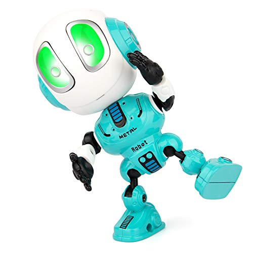 Sopu Talking Robot Toys Repeats What You Say Kids Robot Toy Metal Mini Body Robot with Repeats Your Voice, Colorful Flashing Lights and Cool Sounds Robot Interactive Toy for Boys and Girls Gift (Blue)