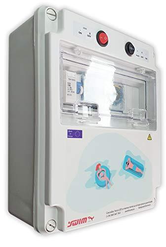 Swimhome Cuadro eléctrico diseñado para Piscinas con Clorador, con Guardamotor, Transformador 100W, Mando a Distancia para iluminación ON/Off (2CV (6-10A))