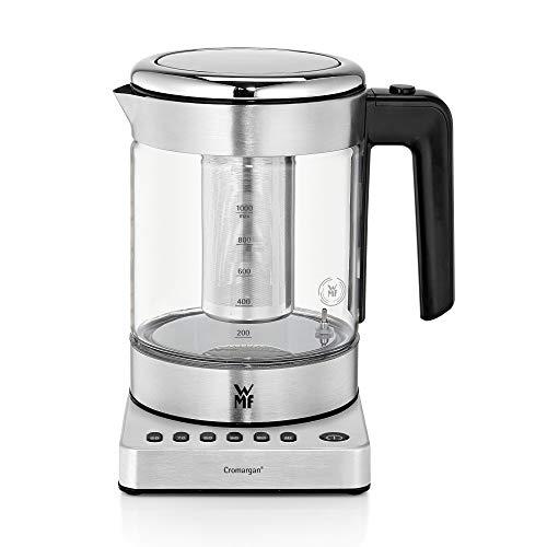 WMF Hervidor Kitchenminis - Hervidor eléctrico para té de 1900 W y 1.0 l de capacidad, jarra de cristal, acabados de acero inoxidable de cromargan mate