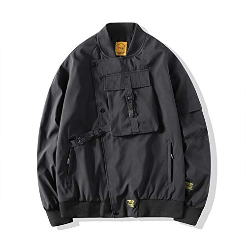 Hombres Bomber Jacket Mulit-Pocket Cargo Bomber Chaquetas Steetwear Hip Hop Winebreaker Abrigos Outwear Black XXXL