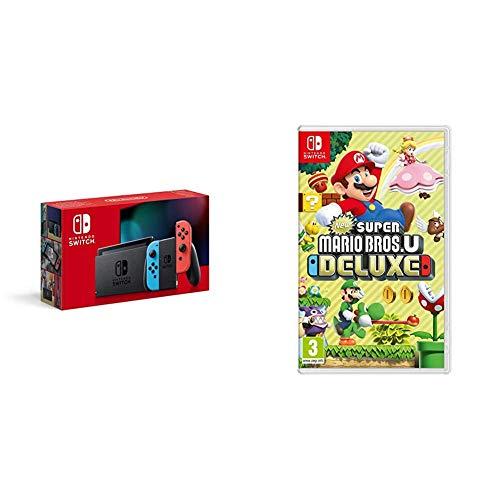 Nintendo Switch avec Paire de Joy-Con Rouge Néon et Bleu Néon & New Super Mario Bros. U Deluxe
