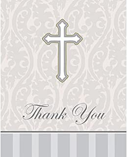 Creative Converting Devotion Silver Cross Thank You Notes, 8 Count