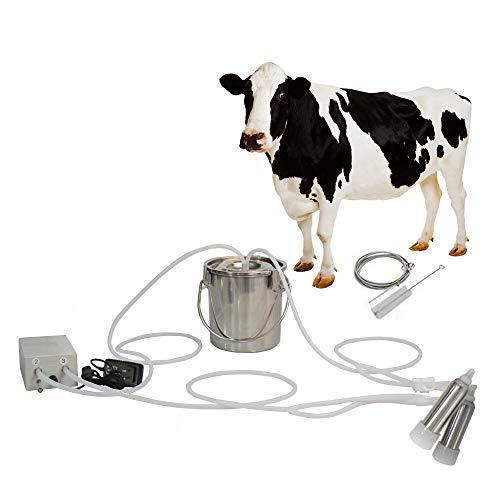 CJWDZ Milking Machine for Goats Cows, Pulsation Vacuum Pump Milker, Milking Supplies W/Stainless Steel Bucket, Portable Suction Machine for Jerseys, Nigerian Dwarfs, Nubian Mix (Cow, 3L)