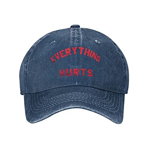 gymini Everything Hurts - Gorra de béisbol de algodón ajustable para entrenamiento, unisex, diseño de camionero