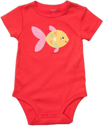 Carter's Body maat 80/86 spreuk vis US Size 24 Month meisje onesie rood meisje ondergoed baby