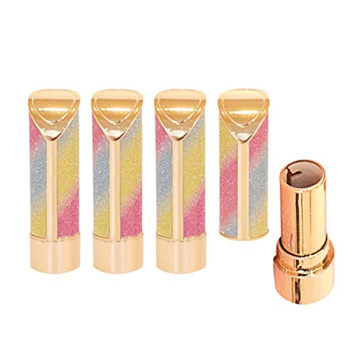 MOTZU 4 Stück 12,1mm Leere Regenbogen Lippenstift Tube,DIY Selbstgemachte Nachfüllbar Lippenstiften Röhrchen,Glitzernde Kunststoff Lippenstiftröhre,Lippenstift Lip Balm Probe Behälter Fläschen