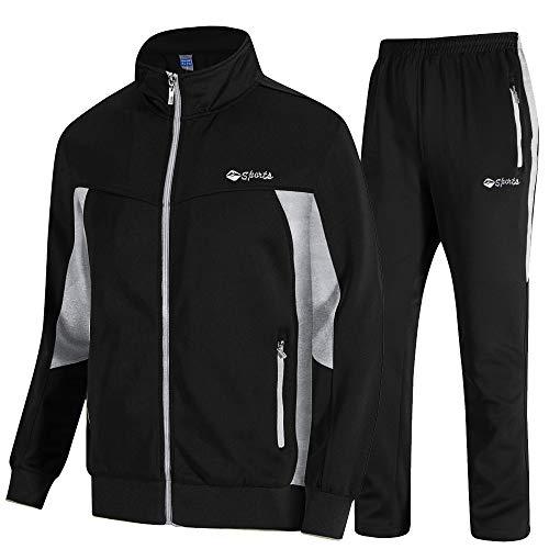 donhobo Herren Jogginganzug Trainingsanzug Sportanzug Fußball Sporthose Hoodie Hose für Gym Warm Tracksuit (02Schwarz, XL)