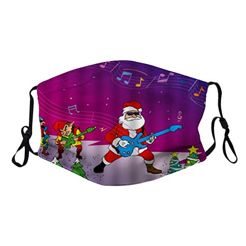 WincosndUU Funny Christmas Santa Claus Rock Band Playing Electric Guitar with Musical Notes Melody Dust Reusable Washable Filter and Reusable Mouth Windproof Warm Cotton Face (2PC)