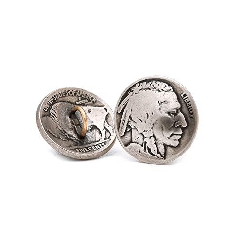 [ファニー] コイン コンチョ 5セント インディアンヘッド [ループタイプ] 5 (セント) カスタム パーツ ボタン アメリカ オールドコイン ニッケル (5個セット)