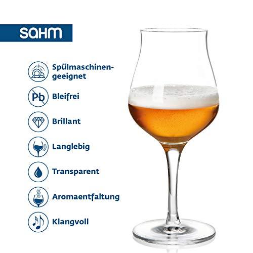 Sahm Biergläser Set 6 STK. | 420ml Bier Sensorik Pokal | Spülmaschinenfeste Bier Gläser | Ideales Gourmet Bier Geschenk | Tolle Craft Beer Gläser - 4