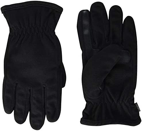 isotoner Men s Fleece Touchscreen Glove Water Repellent with a Sherpa Soft Lining Black Medium product image